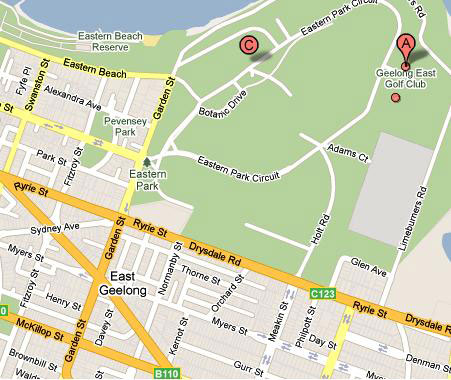 Map of East Geelong Golf Club