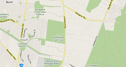 Map of Eastwood Golf Club