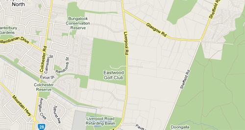 Map of Eastwood Golf Club