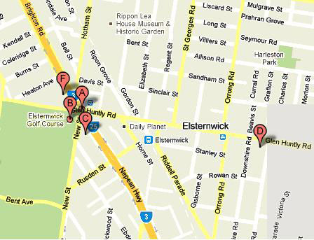 Map of Elsternwick Public Golf Course
