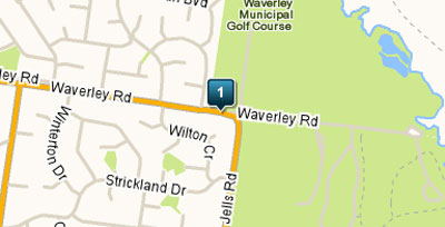 Map of Glen Waverley Golf Course