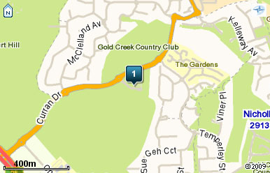 Map of Gold Creek Country Club Canberra