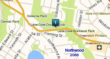 Map of Lane Cove Golf Club