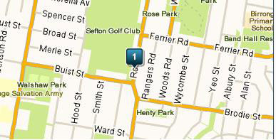 Map of Sefton Golf Course