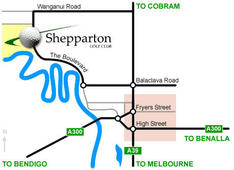 Map of Shepparton Golf Club