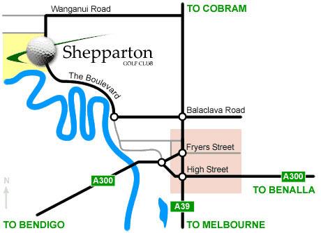 Map of Shepparton Golf Club