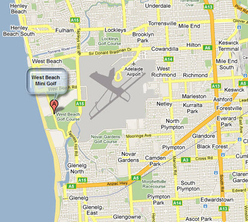 Map og West Beach Golf Course