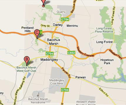 Map of Bacchus Marsh Golf Club