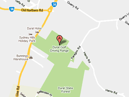 Map of Dural Golf Driving Range & Mini Golf