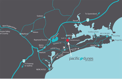 Map of Pacific Dunes Port Stephens