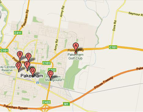 Map of Pakenham Golf Club