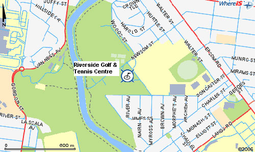 Map of Riverside Golf And Tennis Centre