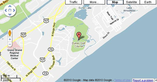 Map of The Dunes Golf Course