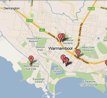 Map of Warrnambool Golf Club